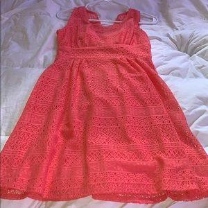 coral lace dress size 4!!